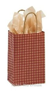Paper Shopping Bags 100 Red Gingham Gift Retail Merchandise 5 X 3 X 8