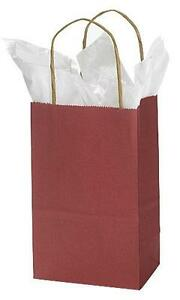 Paper Bags Cub 100 Brick Red Merchandise Gift Shopping 5 X 3 X 8 Bag