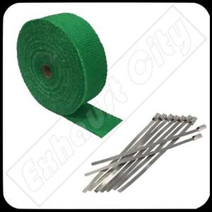 Green Exhaust Header Heat Wrap 2 X 50 Roll W Stainless Steel Cable Zip Ties