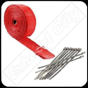 Red Exhaust Header Heat Wrap 1 X 50 Roll With Stainless Steel Cable Zip Ties