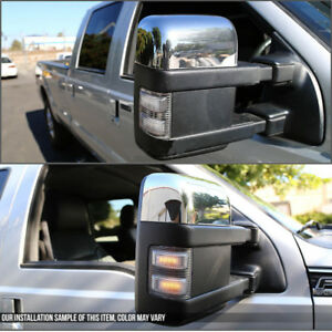 For 99 07 Ford Superduty F250 f550 Chrome Power heated turn Signal Towing Mirror