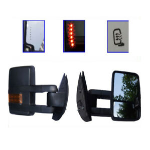 For 88 98 Chevy Gmc C K Towing Power Black Mirrors Backup Led Signal Lamps