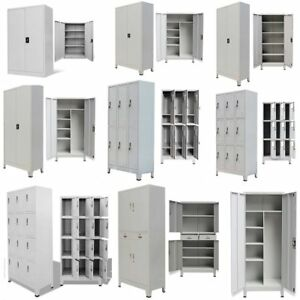 Metal Cabinet Storage Locker Office Filing Garage School Company University Grey