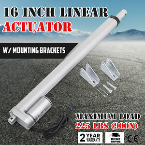 16 Inch Silver Linear Actuator Stroke 225 Pound Max Lift Output 12v Volt Dc
