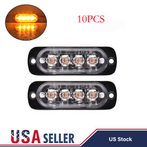 10x Amber 4 Led Car Truck Emergency Beacon Warning Flash Strobe Side Lights Bar