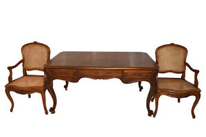 Antique French Louis Xv Style Desk Including 2 Arm Chairs 1920 S
