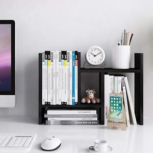 Black Desktop Organizer Office Storage Rack Adjustable Wood Display Desk