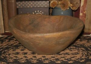 Dough Bowl Primitive French Country Farmhouse Kitchen Table Decor Wood Style