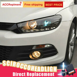 2pcs For Vw Scirocco Headlights Assembly Bi xenon Lens Projector Led Drl 09 15