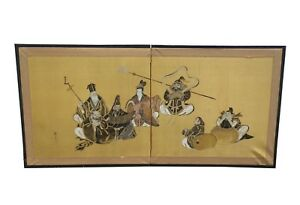 Vintage Japanese Hand Painted Signed Four Panel Folding Screen Picture Wall Art