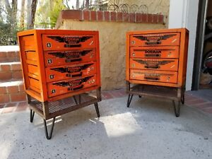 Pair Vtg Industrial Dorman 4 Drawer Parts Cabinet Or Nightstand End Side Table