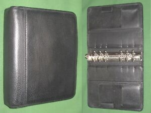 Compact 1 25 Open Black Top Grain Leather Franklin Covey Planner Binder 2086