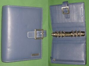 Compact 1 25 Blue Leather Franklin Covey Planner Open Organizer Binder 2152