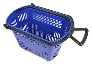 Plastic Rolling Shopping Basket Cart Pull Handle Retail Store Blue Lot Of 6 New