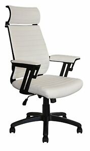 Executive Contemporary Office Chair With Attached Headrest White Vegan Leather