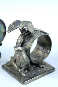 Antique Tufts 3071 Quadruple Silver Plate Owl Butterfly Napkin Ring Holder