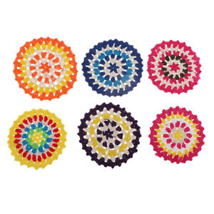 6 National Style Round Lace Cotton Table Mats Placemats Crochet Doilies 11cm