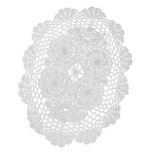 White Hand Crochet Cotton Lace Doilies Oval Table Runner Placemats 30 X 45cm