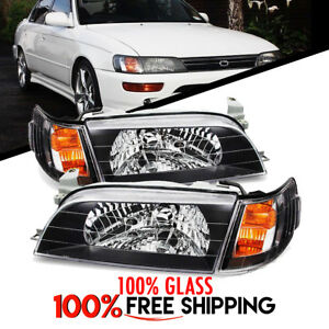 Toyota Corolla Jdm Spec Pair Headlights Black Housing Clear Lens Glass 93 To 97