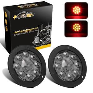 2x4inch Round 12led Smoke Lens Red Light Stop Turn Tail Brake Light Flange Mount