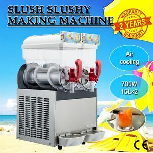 2 X 15l Slush Making Machine 30l Slushy Smoothie Maker 700w For Commercial Use