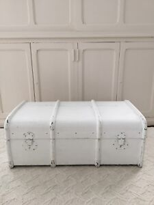 Antique White Painted Steamer Trunk Coffee Table