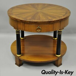 Baker Burl Walnut Rosewood Round Empire Side Lamp End Table
