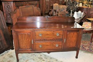 English Antique Chippendale Mahogany Sideboard Small Buffet Bar Cabinet