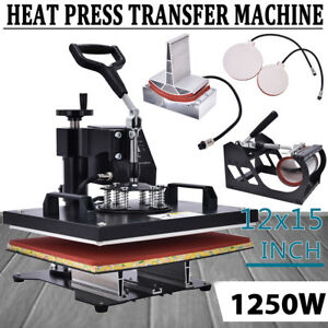 12 x15 5in1 Combo T shirt Heat Press Machine Sublimation Baseball Hat 1250w