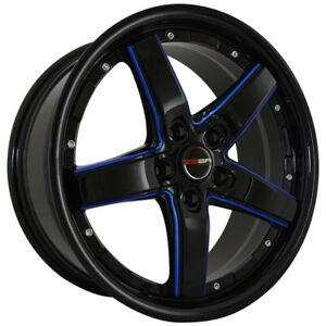 4 Rims 18 Inch Black Blue Mill Drift Rims Fits Ford Shelby Gt 500 2007 2009