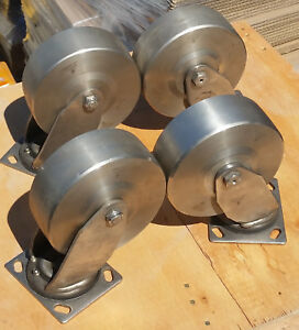 Set Of 4 Darnell 6 X 2 Solid Stainless Steel Wheels Casters 1200 Lb Capacity
