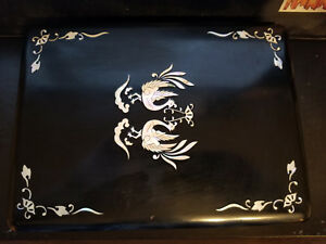 Vintage Chinese Caligraphy Set Black Writing Box W Mother Of Pearl Inlay