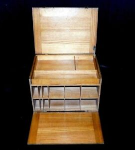 Antique Huntting Portable Secretary Desk Table Top Storage Case Wood Organizer