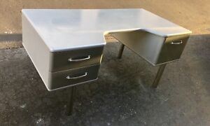 Remarkable Machine Age Style Executive Desk With Chrome Cylinder Legs