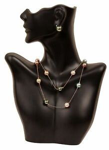 Necklace And Earring Bust Jewelry Display Black Stand Holder Showcase New