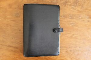 Filofax Personal York Calf Leather Black Organizer Day Planner Made In Italy