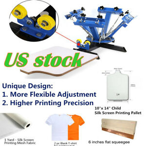 Usa 4 Color Screen Printing Press Machine Silk Screening Pressing Diy 1 Station