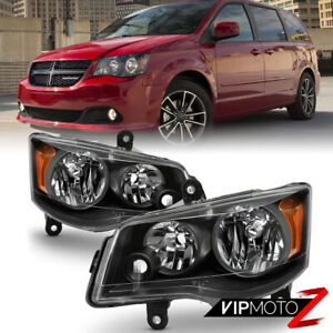 11 17 Dodge Grand Caravan 08 16 Chrysler Town country black Headlight Lamp Set