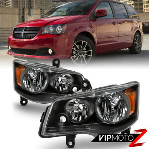 11 17 Dodge Grand Caravan 08 16 Chrysler Town Country Black Amber Headlight Lamp