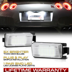 Bright 2pc White Led License Plate Light Lamp For Nissan 350z 370z Gtr G35 G37