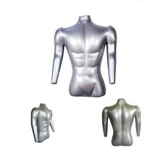 Inflatable Male Half Body Mannequin W Arms Torso Top Shirt Dress Form Dummy New