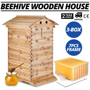 7pcs Auto Flowing Honey Hive Beehive Frames 3 box Beekeeping Wooden House Up