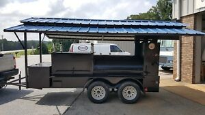 Mini T Rex Roof Bbq Smoker 36 Grill Trailer Firewood Storage Mobile Food Truck