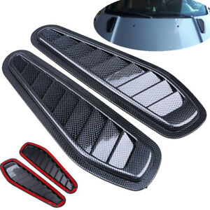 Carbon Fiber Auto Car Air Flow Intake Scoop Turbo Bonnet Vent Cover Hood Fende
