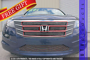 Gtg 2010 2012 Honda Accord Crosstour 4pc Polished Overlay Billet Grille Kit
