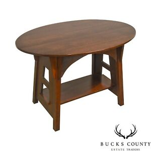 Stickley Limbert Oak Cut Out Oval Mission Arts Crafts Table