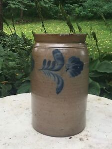 Unusual Large Three Gallon Decorated Stoneware Jar
