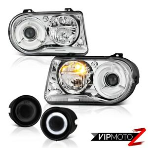 2005 2010 Chrysler 300c 6 1l Chrome Headlamps Crystal Headlights Glass Fog L R