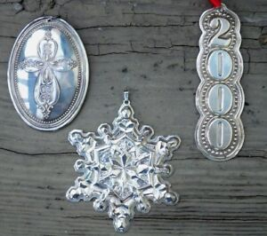 Towle Sterling Silver Lot Of 3 Christmas Ornaments Vtg 1971 1972 2000 Grams 60