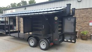 Enclosed Bbq Smoker Grill Trailer Roof Food Truck Concession Mobile Kitchen Fair